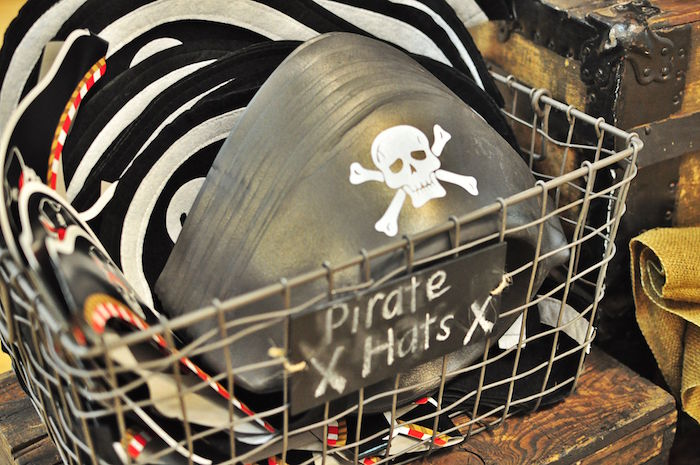 Pirate hats from a Pirates of the Caribbean Birthday Party on Kara's Party Ideas | KarasPartyIdeas.com (11)