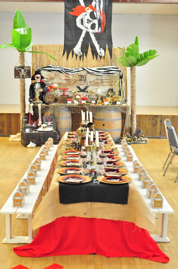Party tables from a Pirates of the Caribbean Birthday Party on Kara's Party Ideas | KarasPartyIdeas.com (9)