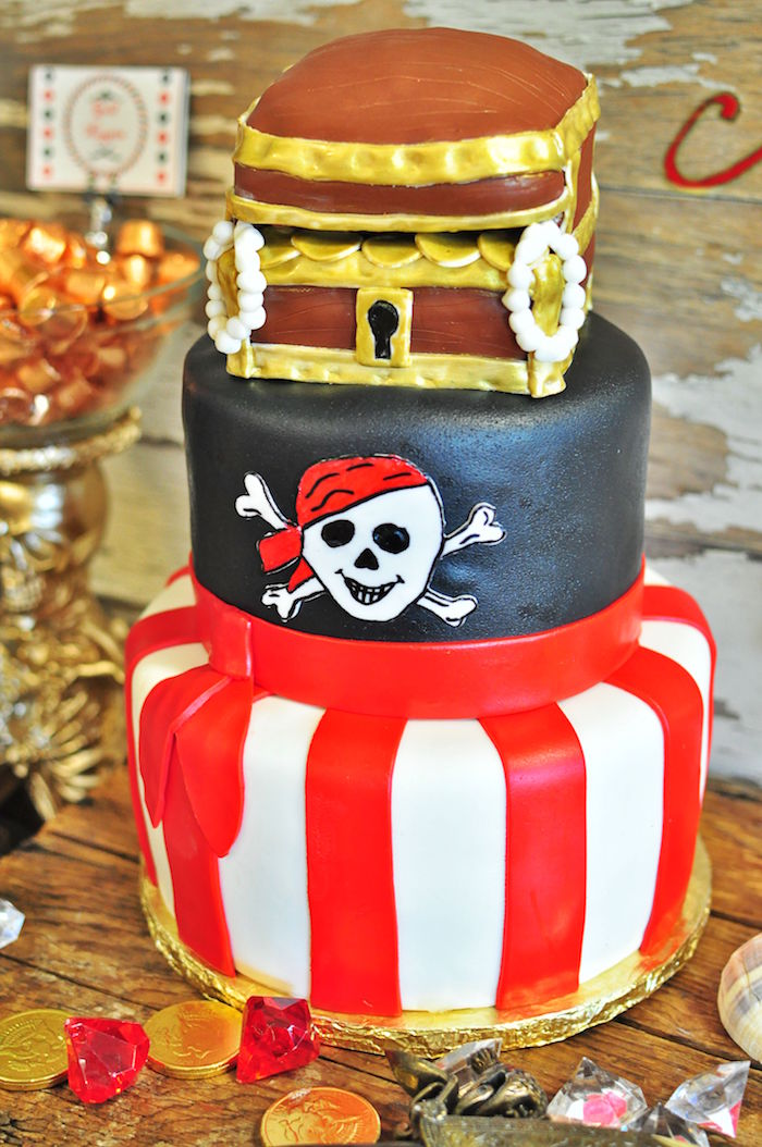 Pirate cake from a Pirates of the Caribbean Birthday Party on Kara's Party Ideas | KarasPartyIdeas.com (42)