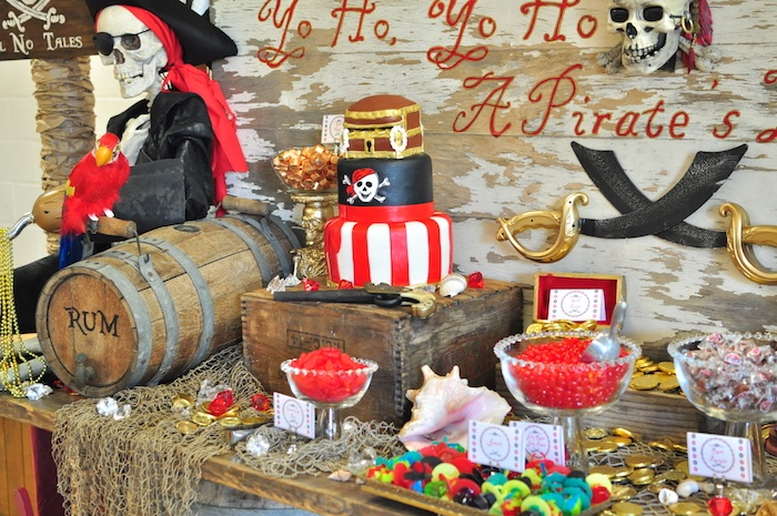Cakescape from a Pirates of the Caribbean Birthday Party on Kara's Party Ideas | KarasPartyIdeas.com (40)