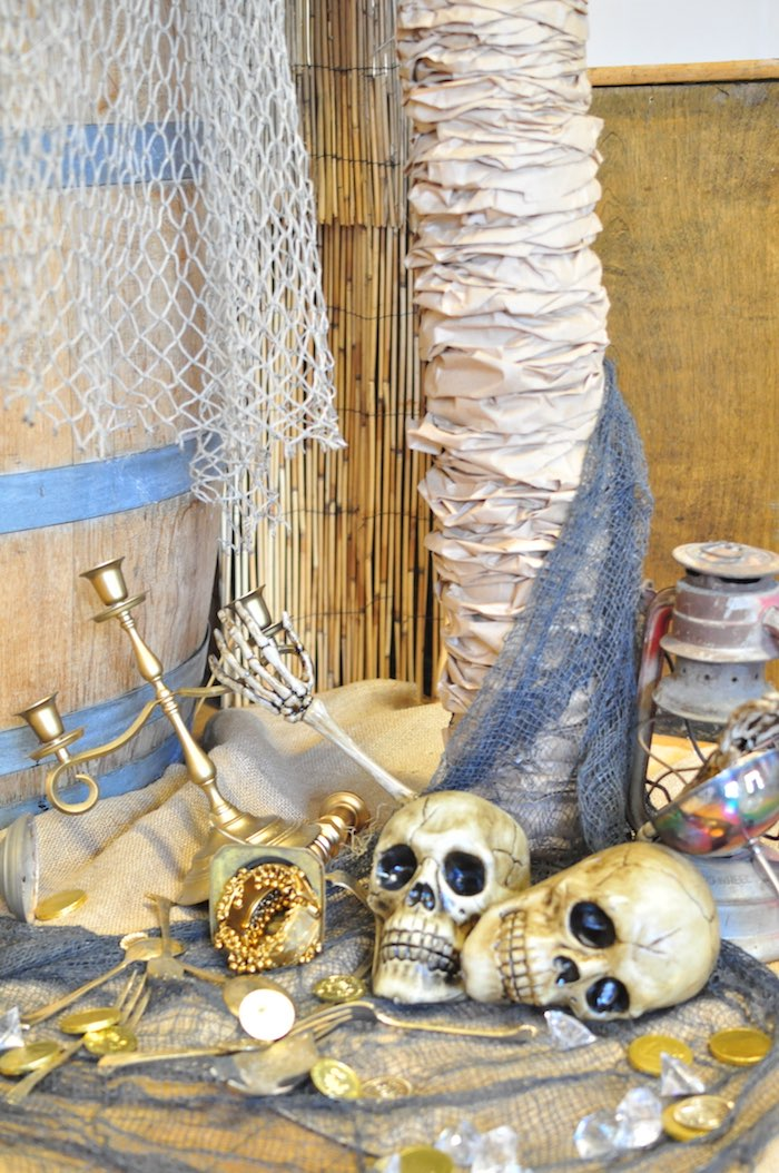 Pirate loot and decor from a Pirates of the Caribbean Birthday Party on Kara's Party Ideas | KarasPartyIdeas.com (38)