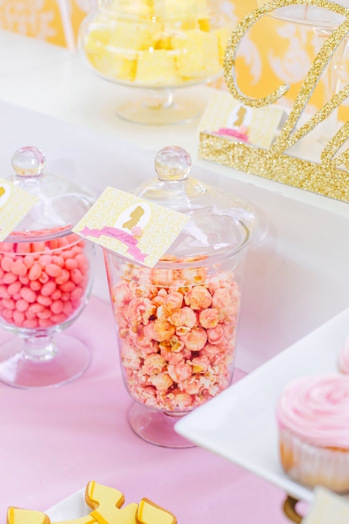 Snacks placed in apothecary jars from a Princess Belle Beauty and the Beast Birthday Party on Kara's Party Ideas | KarasPartyIdeas.com (22)