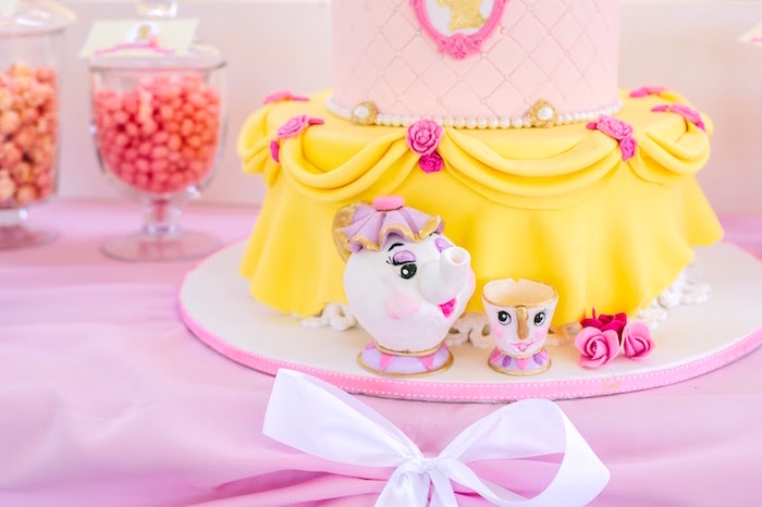 Mrs Potts and Chip cake decorations from a Princess Belle Beauty and the Beast Birthday Party on Kara's Party Ideas | KarasPartyIdeas.com (18)