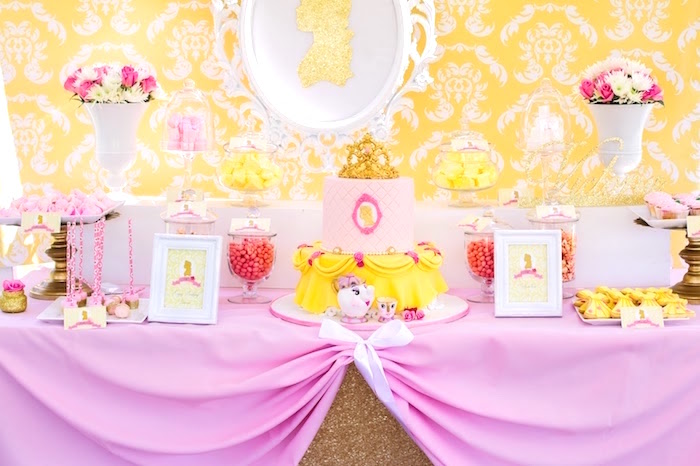 Dessert table from a Princess Belle Beauty and the Beast Birthday Party on Kara's Party Ideas | KarasPartyIdeas.com (17)