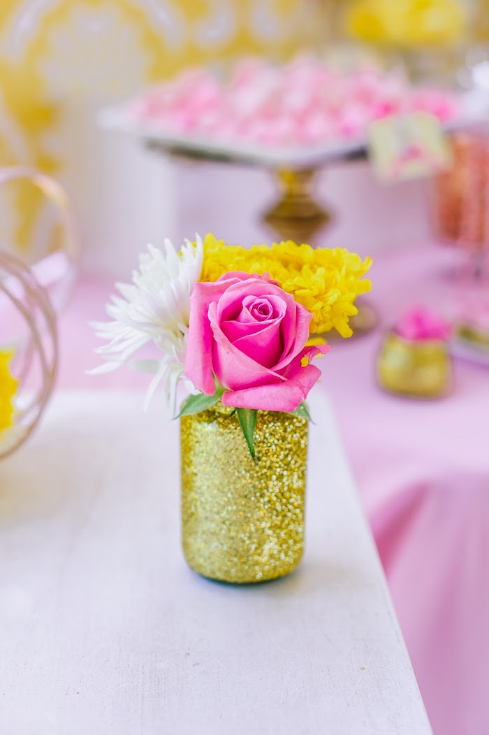 Glitter bottle floral arrangement from a Princess Belle Beauty and the Beast Birthday Party on Kara's Party Ideas | KarasPartyIdeas.com (16)