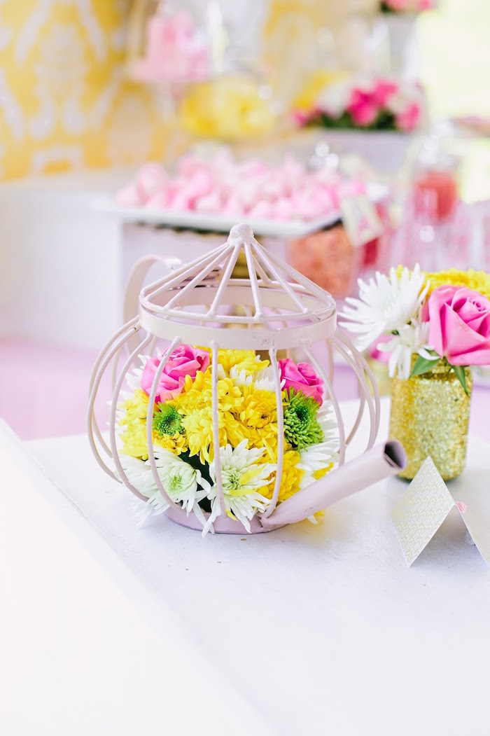 Wire tea kettle + flowers from a Princess Belle Beauty and the Beast Birthday Party on Kara's Party Ideas | KarasPartyIdeas.com (15)