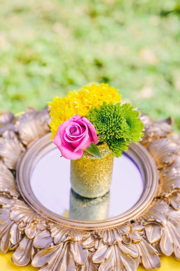 Glitter floral arrangement from a Princess Belle Beauty and the Beast Birthday Party on Kara's Party Ideas | KarasPartyIdeas.com (14)