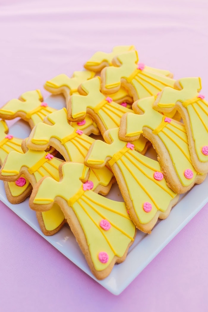 Princess Belle's dress cookies from a Princess Belle Beauty and the Beast Birthday Party on Kara's Party Ideas | KarasPartyIdeas.com (31)