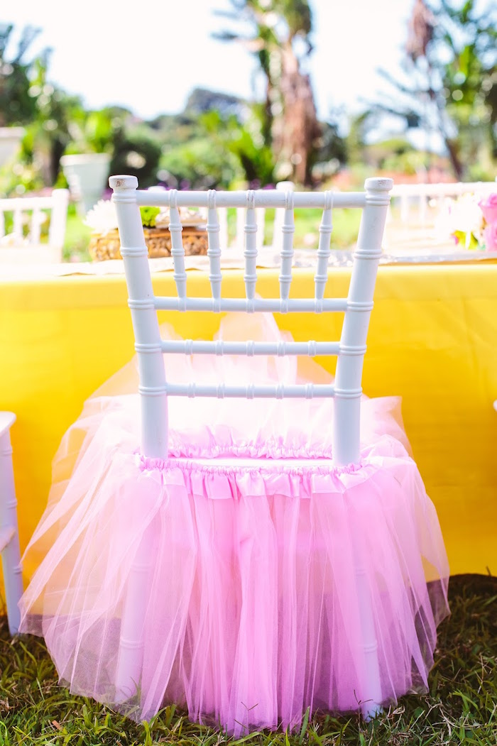 Tulle chair skirt from a Princess Belle Beauty and the Beast Birthday Party on Kara's Party Ideas | KarasPartyIdeas.com (11)