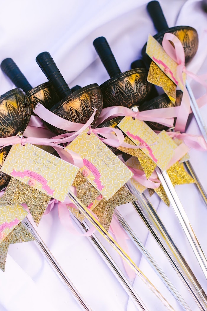 Plastic sword favors from a Princess Belle Beauty and the Beast Birthday Party on Kara's Party Ideas | KarasPartyIdeas.com (10)
