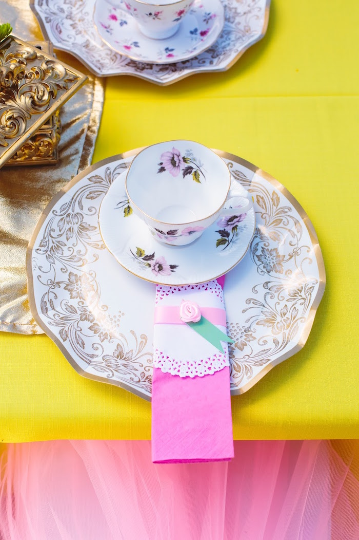 Place setting from a Princess Belle Beauty and the Beast Birthday Party on Kara's Party Ideas | KarasPartyIdeas.com (9)