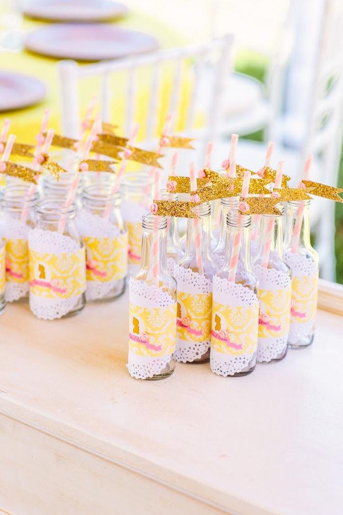 Drink bottles adorned with doilies and glitter silhouettes from a Princess Belle Beauty and the Beast Birthday Party on Kara's Party Ideas | KarasPartyIdeas.com (8)