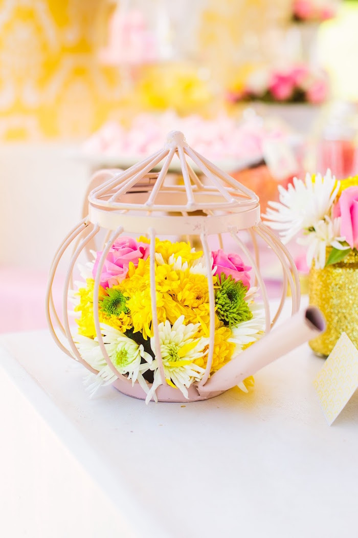 Wire tea kettle flower centerpiece from a Princess Belle Beauty and the Beast Birthday Party on Kara's Party Ideas | KarasPartyIdeas.com (6)