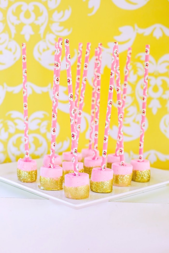 Pink and gold glitter marshmallow pops from a Princess Belle Beauty and the Beast Birthday Party on Kara's Party Ideas | KarasPartyIdeas.com (29)