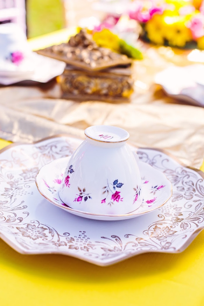 Floral place setting from a Princess Belle Beauty and the Beast Birthday Party on Kara's Party Ideas | KarasPartyIdeas.com (28)