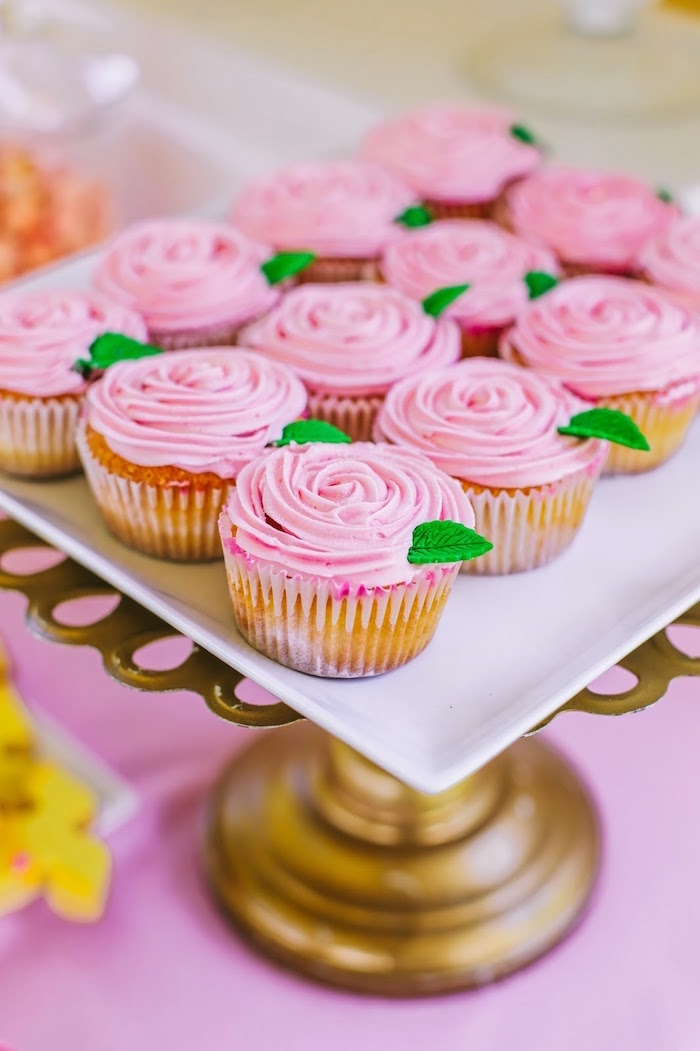 Rose cupcakes from a Princess Belle Beauty and the Beast Birthday Party on Kara's Party Ideas | KarasPartyIdeas.com (27)