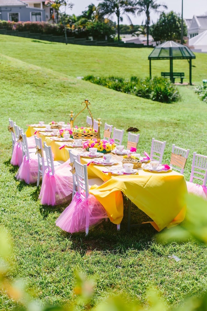 Belle-inspired guest table from a Princess Belle Beauty and the Beast Birthday Party on Kara's Party Ideas | KarasPartyIdeas.com (26)