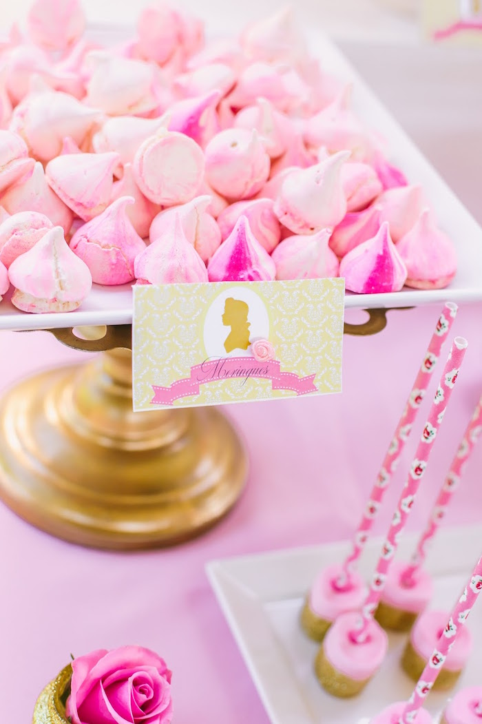 Mini meringues from a Princess Belle Beauty and the Beast Birthday Party on Kara's Party Ideas | KarasPartyIdeas.com (25)
