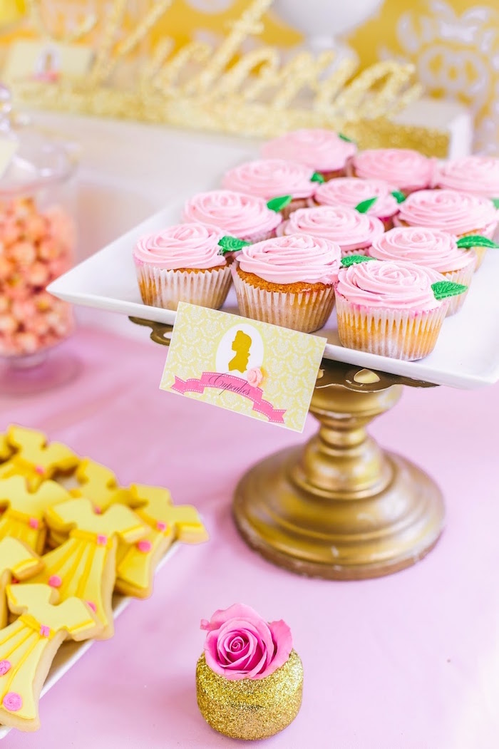 Rose cupcakes from a Princess Belle Beauty and the Beast Birthday Party on Kara's Party Ideas | KarasPartyIdeas.com (24)