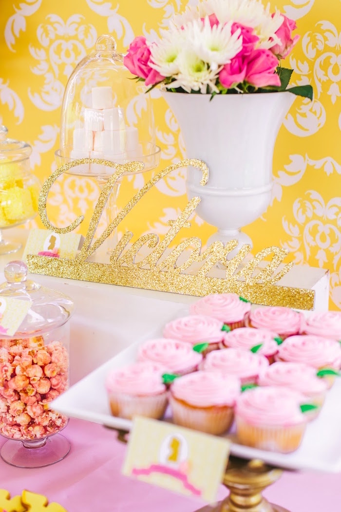 Glitter gold cursive lettering from a Princess Belle Beauty and the Beast Birthday Party on Kara's Party Ideas | KarasPartyIdeas.com (23)