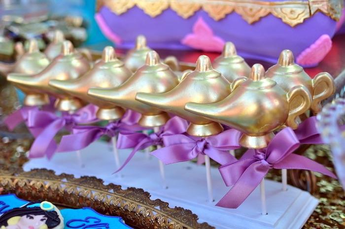 Genie Lamp cake pops from a Princess Jasmine Arabian Nights Birthday Party on Kara's Party Ideas | KarasPartyIdeas.com (36)