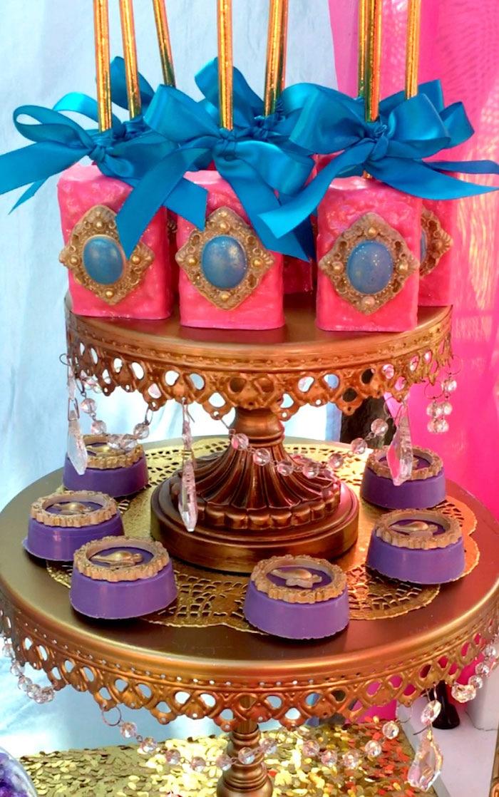 Arabian Rice Krispie Treats and chocolate covered Oreos from a Princess Jasmine Arabian Nights Birthday Party on Kara's Party Ideas | KarasPartyIdeas.com (34)