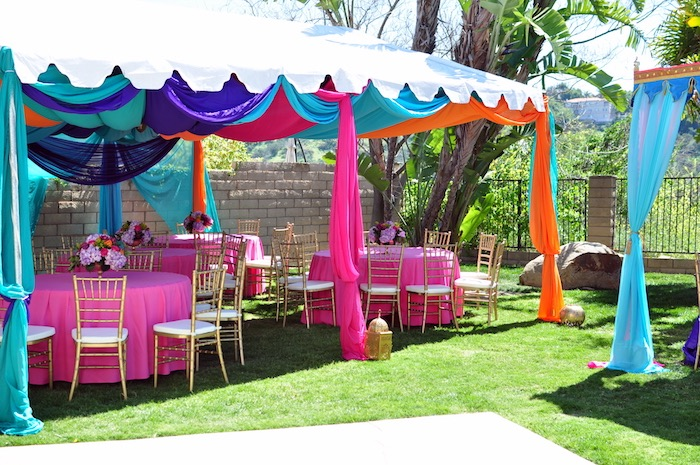 Guest Table Tentscape From A Princess Jasmine Arabian Nights Birthday Party On Karas Ideas