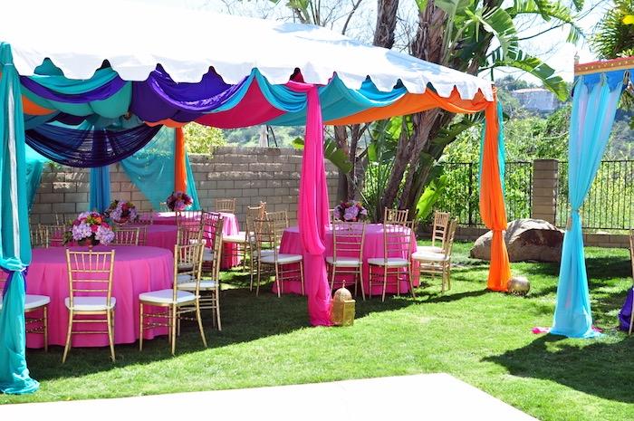 Guest table + tentscape from a Princess Jasmine Arabian Nights Birthday Party on Kara's Party Ideas | KarasPartyIdeas.com (47)