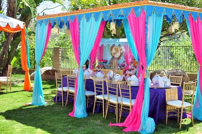 Arabian guest table + tentscape from a Princess Jasmine Arabian Nights Birthday Party on Kara's Party Ideas | KarasPartyIdeas.com (28)