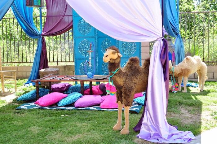 Hookah lounge from a Princess Jasmine Arabian Nights Birthday Party on Kara's Party Ideas | KarasPartyIdeas.com (27)
