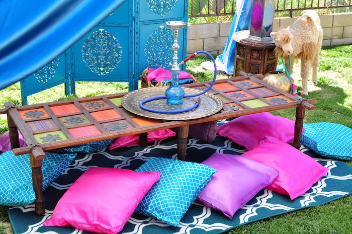 Hookah lounge table from a Princess Jasmine Arabian Nights Birthday Party on Kara's Party Ideas | KarasPartyIdeas.com (26)
