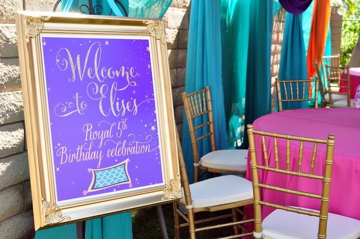 Welcome sign from a Princess Jasmine Arabian Nights Birthday Party on Kara's Party Ideas | KarasPartyIdeas.com (24)