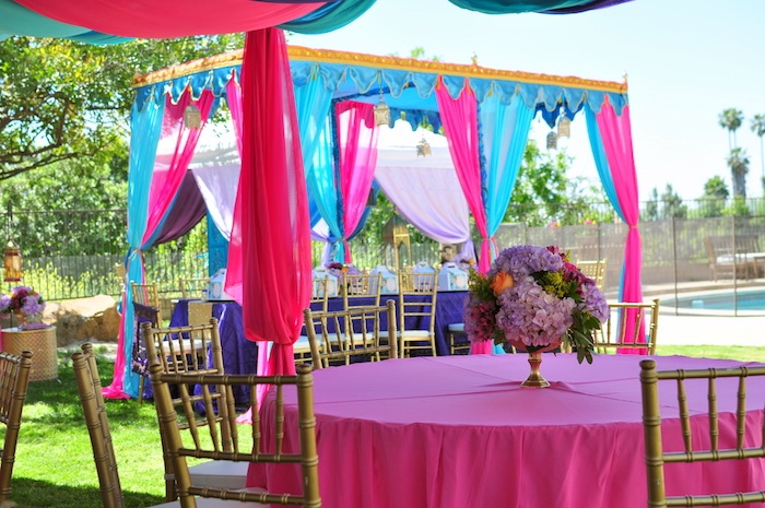 Guest table from a Princess Jasmine Arabian Nights Birthday Party on Kara's Party Ideas | KarasPartyIdeas.com (23)