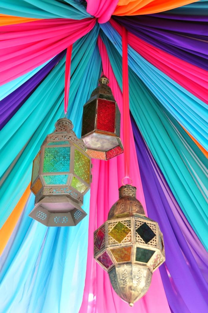 Hanging gold lanterns from a Princess Jasmine Arabian Nights Birthday Party on Kara's Party Ideas | KarasPartyIdeas.com (20)