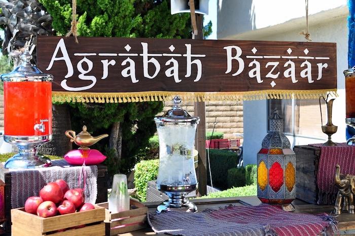 Agrabah Bazaar beverage table from a Princess Jasmine Arabian Nights Birthday Party on Kara's Party Ideas | KarasPartyIdeas.com (17)
