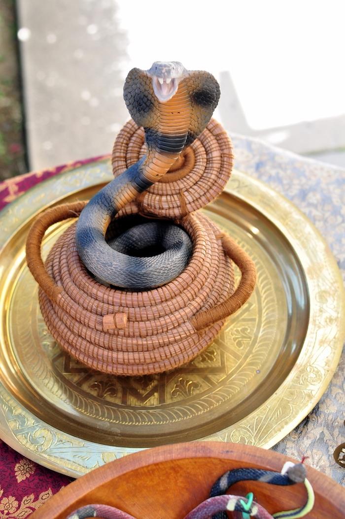 Snake in a basket from a Princess Jasmine Arabian Nights Birthday Party on Kara's Party Ideas | KarasPartyIdeas.com (16)