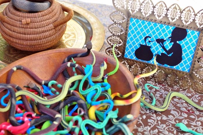 Plastic snakes from a Princess Jasmine Arabian Nights Birthday Party on Kara's Party Ideas | KarasPartyIdeas.com (15)