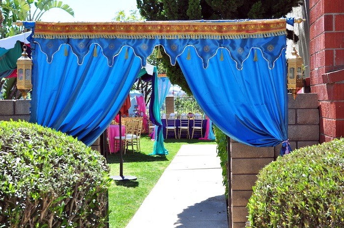 Arabian curtain entrance from a Princess Jasmine Arabian Nights Birthday Party on Kara's Party Ideas | KarasPartyIdeas.com (11)