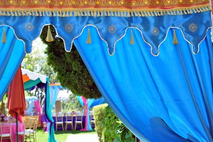 Arabian curtain from a Princess Jasmine Arabian Nights Birthday Party on Kara's Party Ideas | KarasPartyIdeas.com (10)