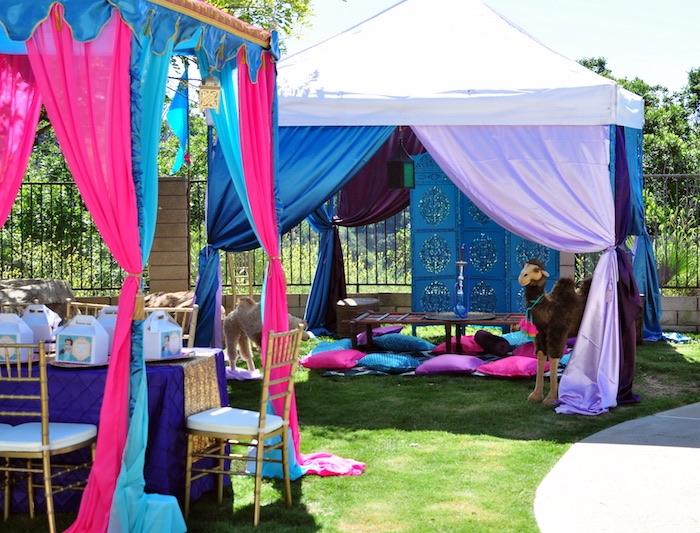 Hookah lounge from a Princess Jasmine Arabian Nights Birthday Party on Kara's Party Ideas | KarasPartyIdeas.com (45)