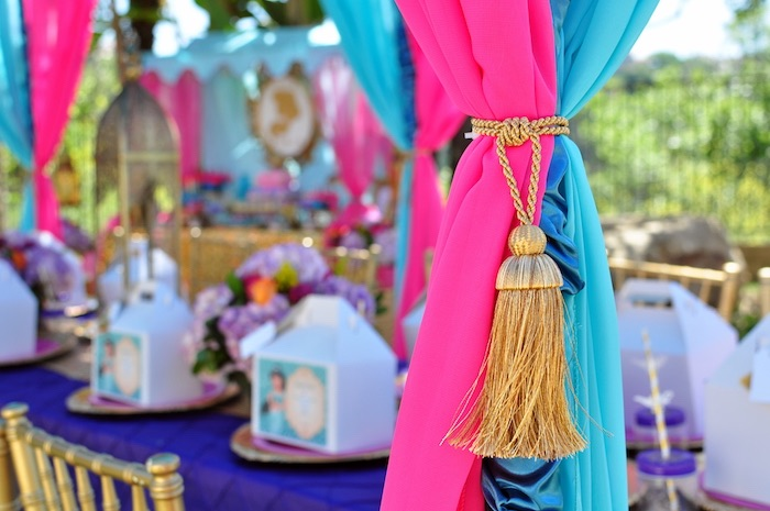 Curtain tie tassel from a Princess Jasmine Arabian Nights Birthday Party on Kara's Party Ideas | KarasPartyIdeas.com (44)