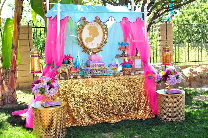 Princess Jasmine dessert table from a Princess Jasmine Arabian Nights Birthday Party on Kara's Party Ideas | KarasPartyIdeas.com (39)