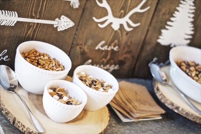 Bowls of trail mix from a Rustic Camping First Birthday Party on Kara's Party Ideas | KarasPartyIdeas.com (20)