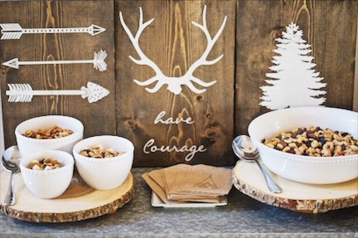 Trail mix bar from a Rustic Camping First Birthday Party on Kara's Party Ideas | KarasPartyIdeas.com (19)