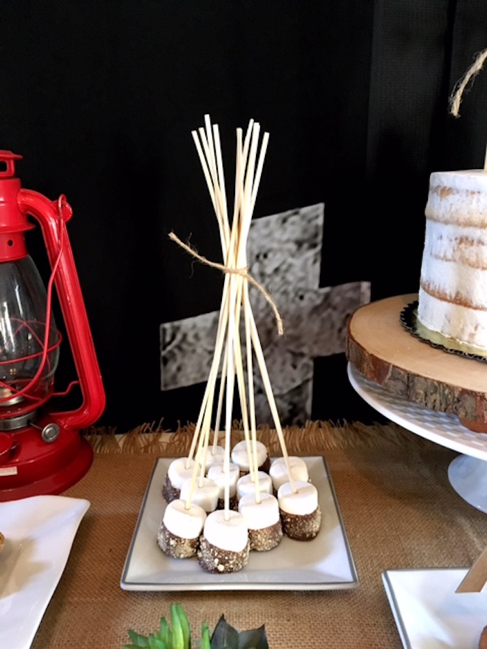 S'more sticks formed into a teepee from a Rustic Camping First Birthday Party on Kara's Party Ideas | KarasPartyIdeas.com (18)