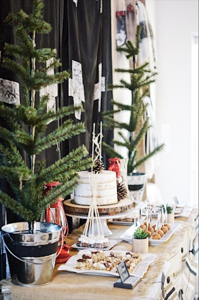 Dessert table, side-view from a Rustic Camping First Birthday Party on Kara's Party Ideas | KarasPartyIdeas.com (16)