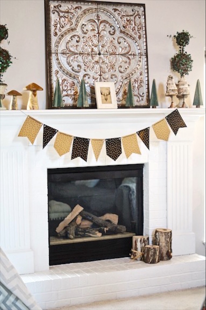 Decor + fireplace from a Rustic Camping First Birthday Party on Kara's Party Ideas | KarasPartyIdeas.com (14)