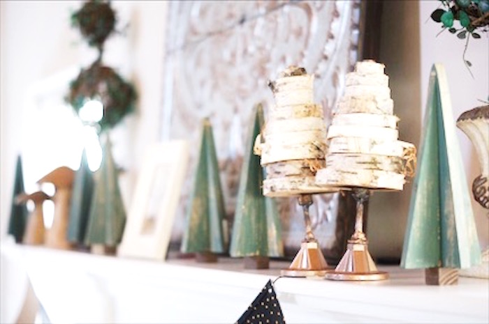 Mini birch roll trees from a Rustic Camping First Birthday Party on Kara's Party Ideas | KarasPartyIdeas.com (12)