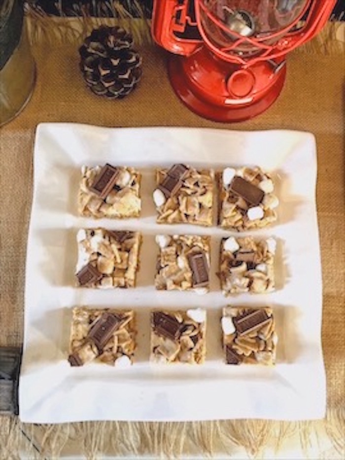 S'mores Krispie Treats from a Rustic Camping First Birthday Party on Kara's Party Ideas | KarasPartyIdeas.com (10)