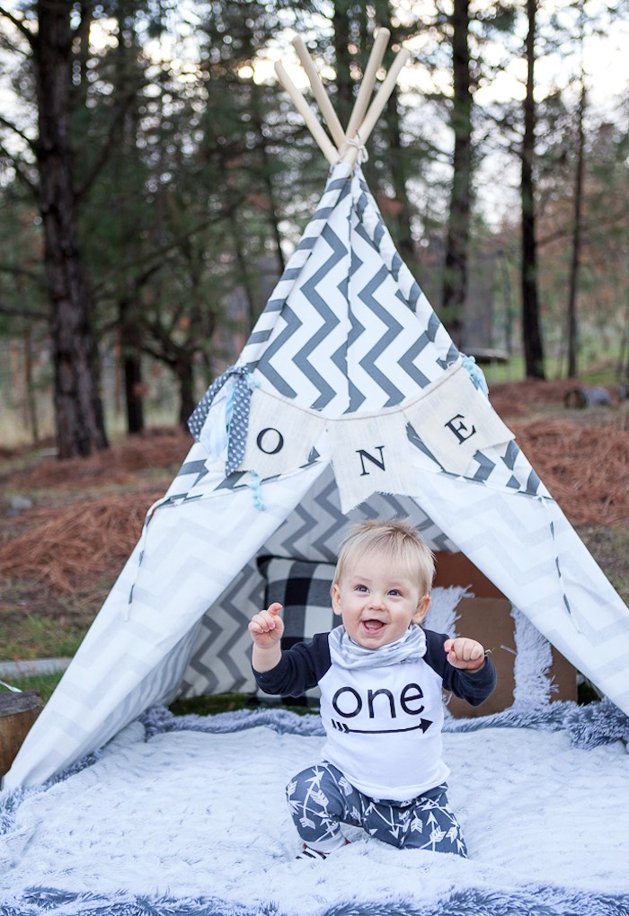 1st Birthday Photo Shoot from a Rustic Camping First Birthday Party on Kara's Party Ideas | KarasPartyIdeas.com (7)